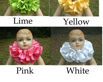 C120   Gorgeous Cotton Double Ruffle Adults Clown Collar         You Choose the Color