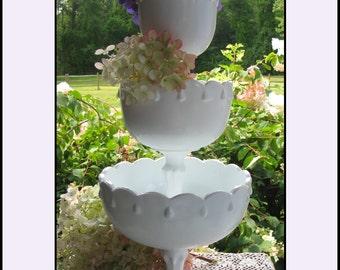 Vintage Milk Glass Compotes - Celebrate Good Times - Wedding Centerpiece