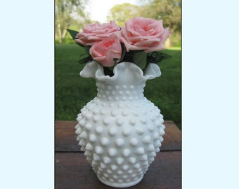 Vintage Milk Glass Hobnail Vase by Fenton