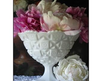 Milk Glass Wedding Centerpiece / Westmoreland Milk Glass Compote/ Milk Glass Vase