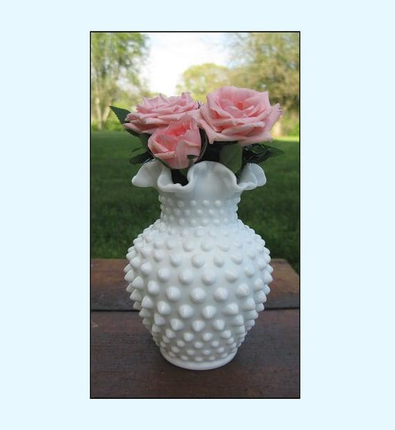 Vintage Milk Glass Hobnail Vase by Fenton