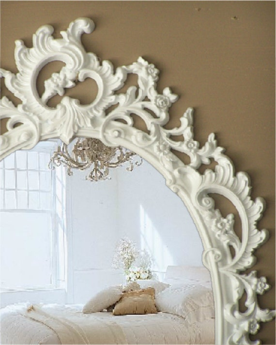 L A C E Y, French Rococo Mirror White Baroque Mirror Shabby Chic Decor