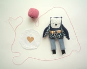 Simon -   Little Sailor  Owl, soft art toy by Wassupbrothers