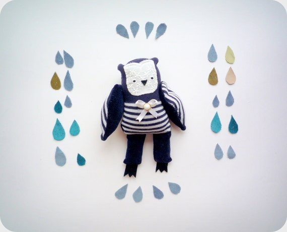 Sebastian -   Little Sailor  Owl, soft art toy by Wassupbrothers