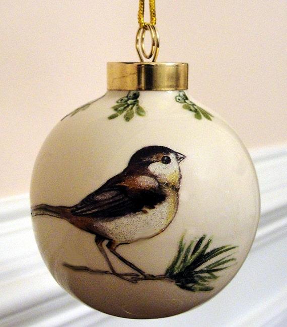 Chickadee Bird Ornament, Porcelain Ball
