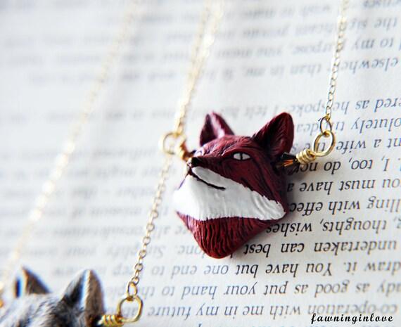 Fox Necklace, Gold Fox Necklace, Red Fox Necklace, Fox Jewelry, Woodland Forest Jewelry, Nature inspired Jewelry, Boho Necklace