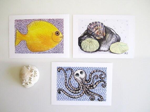 Ocean Bathroom Decor: Ocean Art Prints Sea Life Prints Bathroom Wall Decor