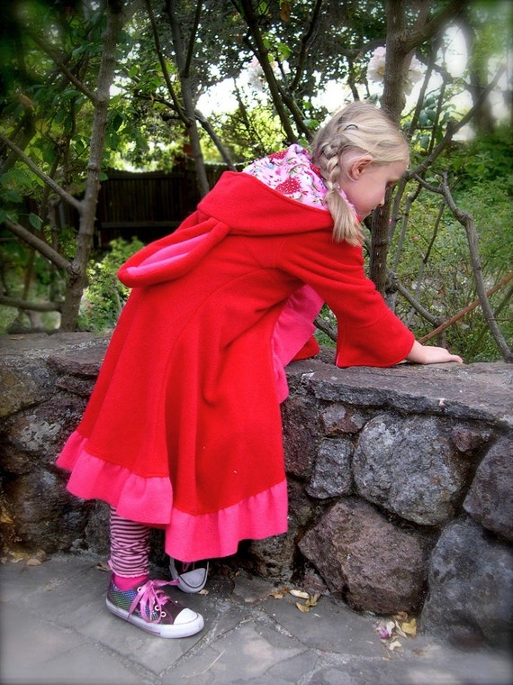 Bunnycoat/ Little Red Rabbit Hood with pink trim size 6 / 8