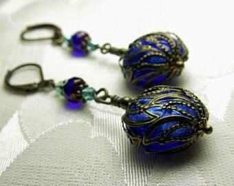 Blue & Aqua Victorian Earrings, Cobalt Blue Aqua Green Edwardian Bridal Style Earrings, Antiqued Brass Filigree Titanic Temptations Jewelry
