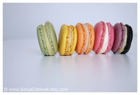 Macarons in a Row - kitchen nursery bakery cute decor food still life photography French dessert pastry - Original Fine Art Photography