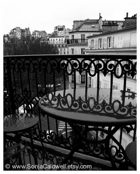 Rainy Day in Montmartre - photograph, winter, black and white photography Paris wrought-iron - 8x10 or 16x20 Original Fine Art Photograph