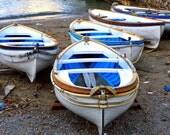 Nautical Decor - Italy Photography - Capri Boats Print Italian Beach Photograph Blue White Wall Art Amalfi Coast Photo Mediterranean