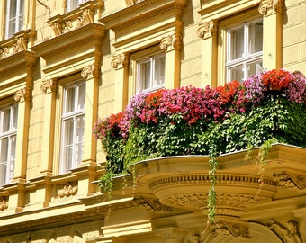 Hungary Architecture Photography Budapest Photograph Pink Red Flowers Photo Yellow Decor Elegant Hungarian Art Garden Balcony Print