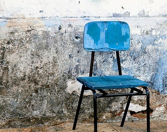 Blue Chair Print - Rustic Art - Urban Decor - Brazil Photo - Salvador Brazil - Cobalt Blue Print - Brazilian Art Home Decor Wall Art