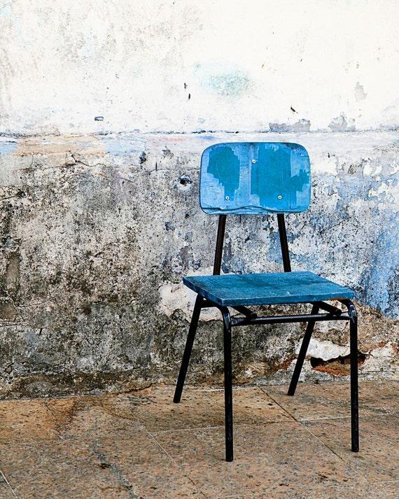 Blue Chair Print - Rustic Art - Urban Decor - Brazil Photo - Salvador Brazil - Cobalt Blue Print - Brazilian Art Home Decor Wall Art