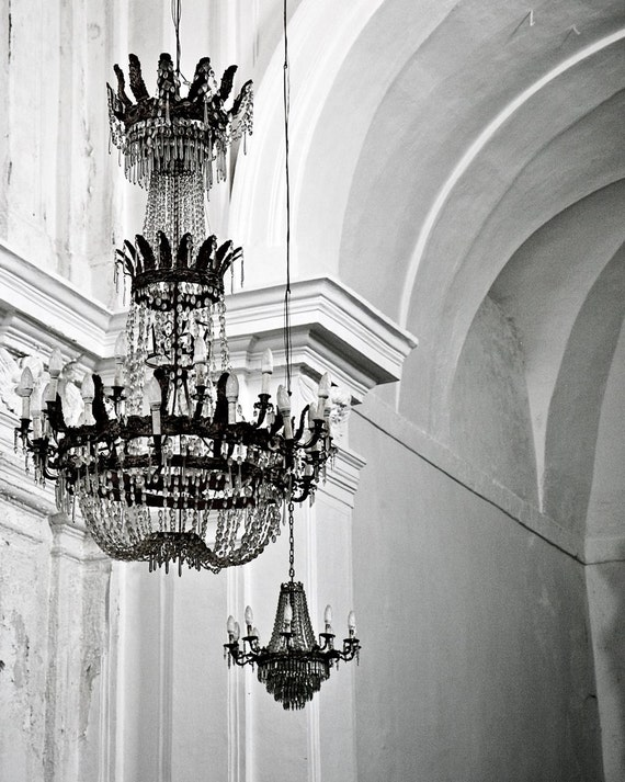 Chandelier Photography - Black and White Photography - Glamorous Elegant Print - Sicily Italy - Romantic Italian Home Decor Wall Art