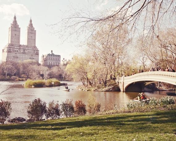 New York City Photo - Bow Bridge Print - Central Park Photograph - Spring Urban Decor Lake Trees Light Romantic Cityscape NYC Pastel