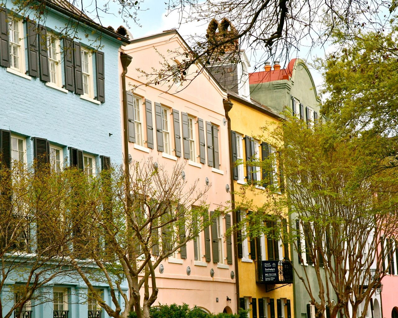 Charleston art rainbow row print southern decor by vitanostra for Home decor charleston sc
