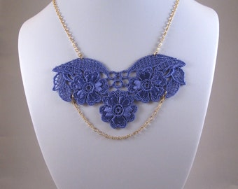 Purple Lace Necklace, Floral Necklace, gold and purple necklace - Brenda