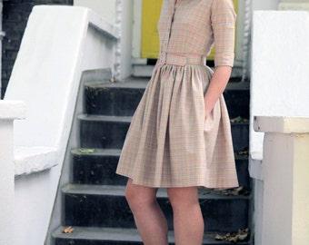 Beige dress  Wool dress Shirt dress 1950s dress Womens dresses Ladies dress Mod dress Checkered dress Belted dress with pockets Handmade
