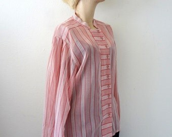 Sheer Cotton Blouse by Jaeger / Pink Chevron & Stripe Vintage Shirt