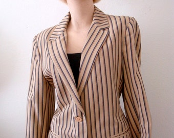 1960s Twill Blazer / Mod Striped Jacket / Collegiate Chic Vintage Suit Coat