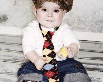 Baby boy's hat, Lucas in Houndstooth Wool-Cotton Blend, Ring Bearer, Christening, Newsboy Style Hat, 0-36 months, custom handmade.
