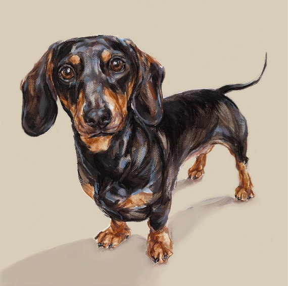 Dachshund painting dog art print - Limited Edition Dog Print