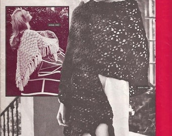 Flirtatious Shawls Wraps  6 Crochet & 4 Knit Vintage BERNAT Ten Beautiful Snuggly Shawls 1970s