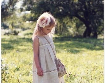Linen girl dress - Rustic flower girl dress - Country flower girl dress - Rustic girl dress - Linen girl outfit - Gray girl dress