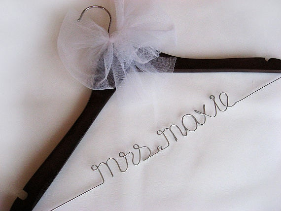 RESERVED LISTING FOR Charlotte Carter - 2 Personalized Bridal Hangers with Tulle Bow Decoration - Wire Hanger, Wedding Name Hanger