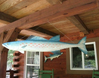 Spanish Mackerel Moblie 4 ft. chainsaw fish carving two sided 3D wall hanging wooden taxidermy beach cottage indoor/outdoor home decor art
