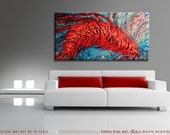 Modern Abstract Painting 48x24 ORIGINAL Acrylic Fine Art by Federico Farias. Textured 3D, Stretched Canvas, Big, Red, Blue, Aqua.