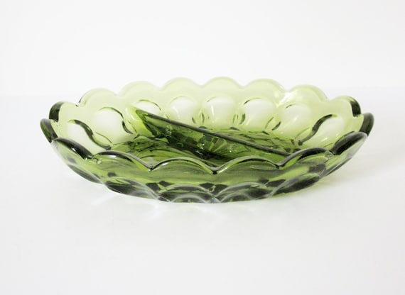 Mod 1960s Avocado Green Glass Candy Dish - Retro Divided Bowl - Vintage Housewares - Two Sided Serving Bowl - Relish Dish - Trinket Dish