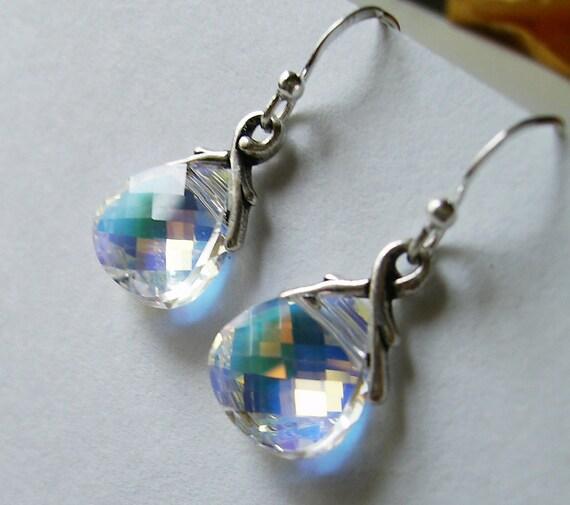 swarovski ab briolettes sterling silver earrings