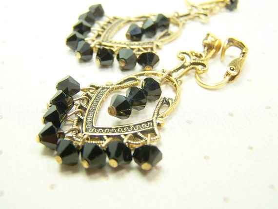 Antique Black and Brass Earrings with Beads and Rhinestones Clip on