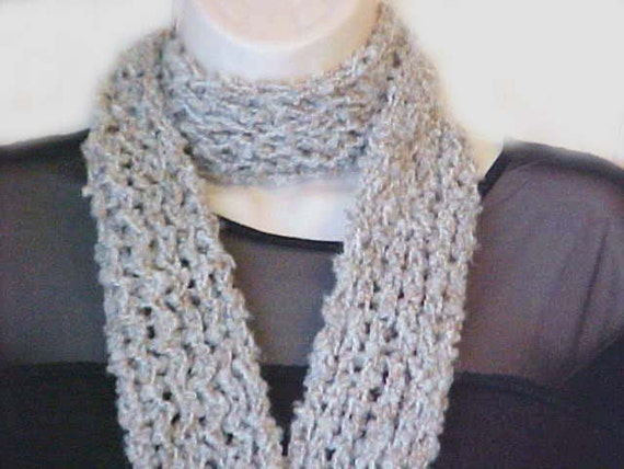 SALE  Knit Oatmeal boucle scarf  /  nubby soft texture  /   fashion scarf  /    Peace Stitch Studio