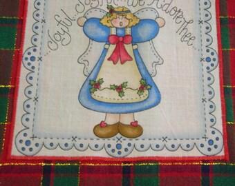JOYFUL ANGEL TOWEL Red and Green Plaid Christmas Kitchen Dish Towel