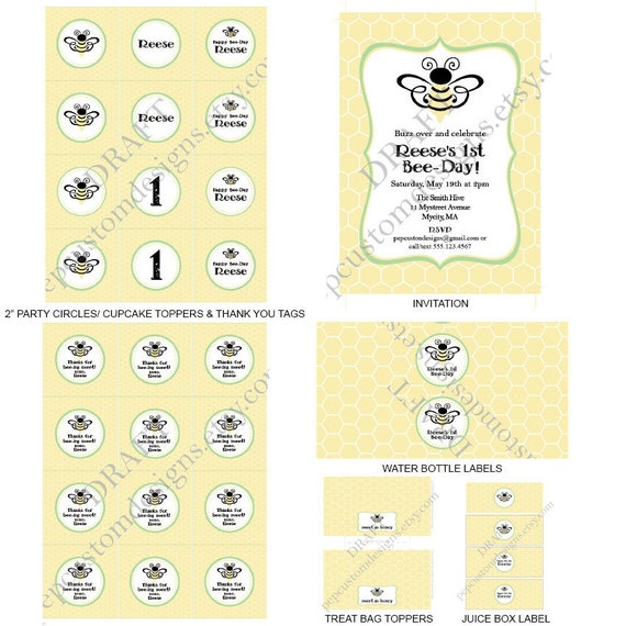 DIY -  Printable: Personalized Bee-Day Party Set -  13 items (invitation, party circles, water bottle labels, banner and more)