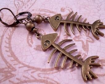 Brass Earrings Fish Earrings Skeleton Earrings Brass Jewelry Fish Jewelry Beaded Earrings Beaded Jewelry Fish Skeleton