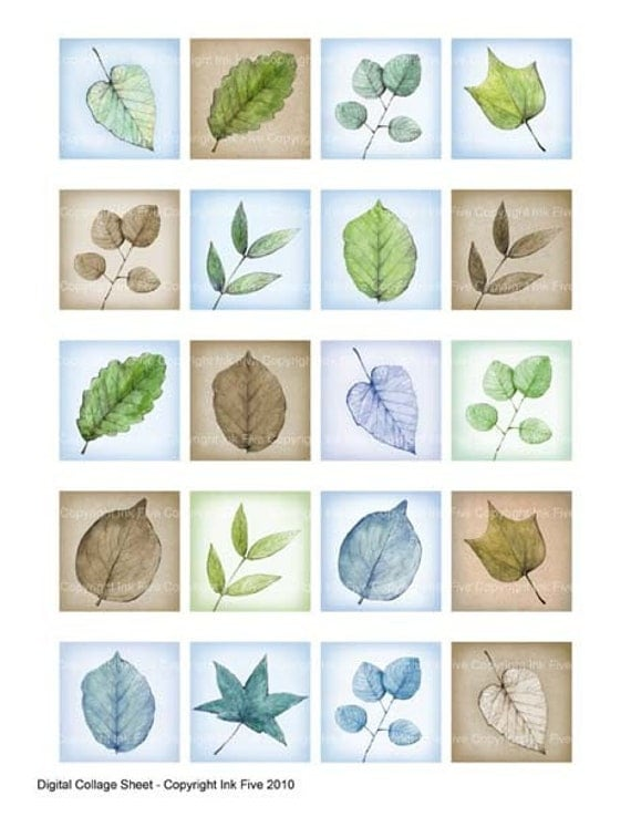 Spring Leaves 1x1 inch squares Printable Digital Collage Sheet for handmade jewelry, magnets, stickers, cards, pendants. Digital download