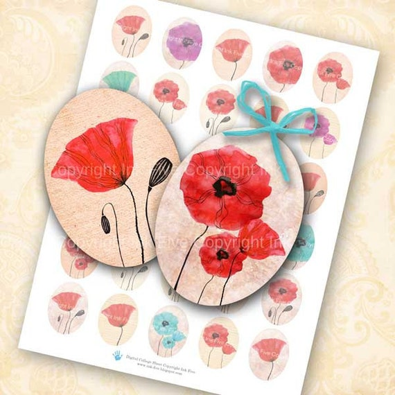 30x40 mm ovals Poppy Flowers . Collage sheet for cabochons, cameos, pendants, embellishments. Printable oval images for download