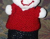Upcycled Sock Baby Doll With Hand Stitched Face and Custom Hand Knit Red Sweater and Black Pants