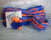 Florida Gators inspired Scrappy Felt & Yarn Flower Pin Brooch - Blue and Orange - Handmade