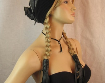 BOHO Clothing Black Feather Leather Fringe Ponytail Holder  Hair Wrap Extensions, Hair Jewelry