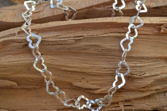 Sterling Silver Hammered Heart Link Necklace