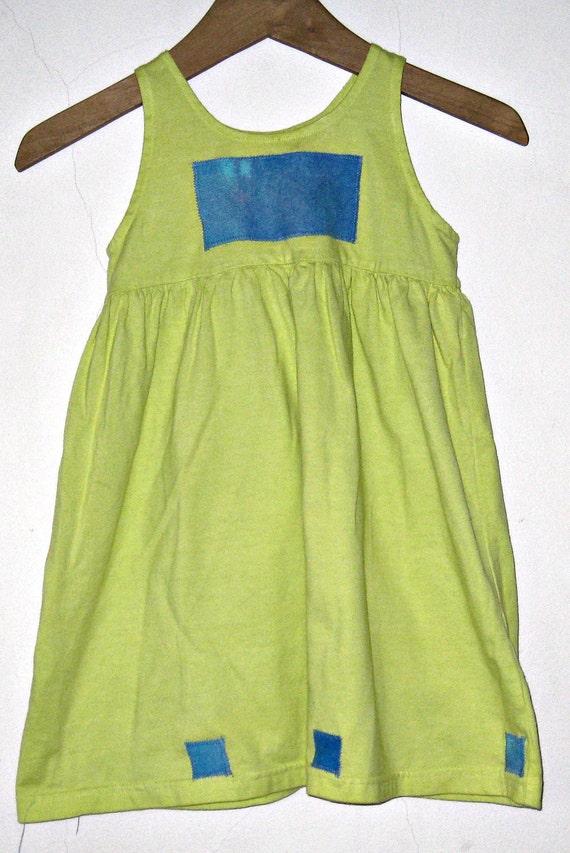 Sundress 2T Chartruese Cotton Knit Tie Dye Patches Empire Waist