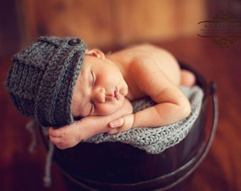 Newsboy Hat -Newborn Baby Hat - Dark Grey Baby Boy Hat - Textured Newborn Hat - Baby Boy Hats-by JoJosBootique