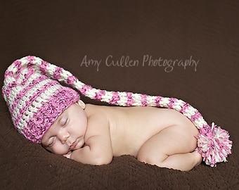 Baby Girl Hat - Striped Baby Girl Hat - Pixie Hat - Baby Pixie Hat - Elf Hat - Valentine's  Baby Girl Hat - Baby Elf Hat - by JoJosBootique