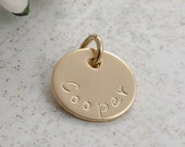 1/2 inch gold filled round disc - add a name or initial charm